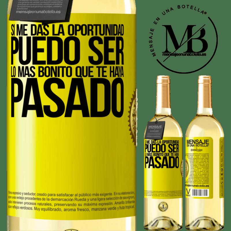 24,95 € Envío gratis | Vino Blanco Edición WHITE Si me das la oportunidad, puedo ser lo más bonito que te haya pasado Etiqueta Amarilla. Etiqueta personalizable Vino joven Cosecha 2020 Verdejo
