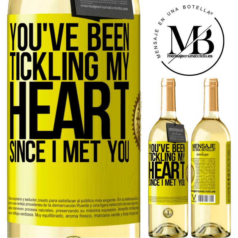 24,95 € Free Shipping | White Wine WHITE Edition You've been tickling my heart since I met you Yellow Label. Customizable label Young wine Harvest 2020 Verdejo