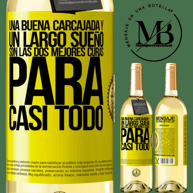 24,95 € Envío gratis | Vino Blanco Edición WHITE Una buena carcajada y un largo sueño son las dos mejores curas para casi todo Etiqueta Amarilla. Etiqueta personalizable Vino joven Cosecha 2020 Verdejo