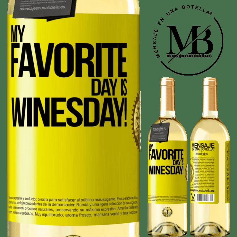 24,95 € Envío gratis | Vino Blanco Edición WHITE My favorite day is winesday! Etiqueta Amarilla. Etiqueta personalizable Vino joven Cosecha 2020 Verdejo