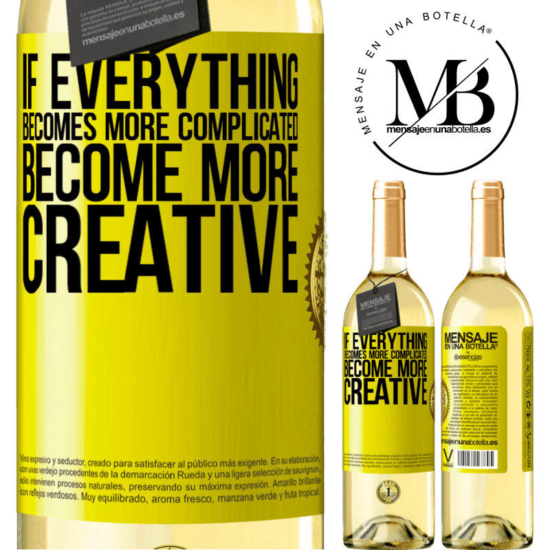 24,95 € Free Shipping | White Wine WHITE Edition If everything becomes more complicated, become more creative Yellow Label. Customizable label Young wine Harvest 2020 Verdejo