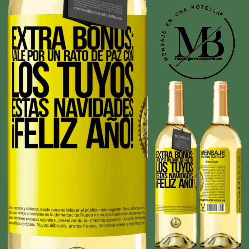 24,95 € Envío gratis   Vino Blanco Edición WHITE Extra Bonus: Vale por un rato de paz con los tuyos estas navidades. Feliz Año! Etiqueta Amarilla. Etiqueta personalizable Vino joven Cosecha 2020 Verdejo