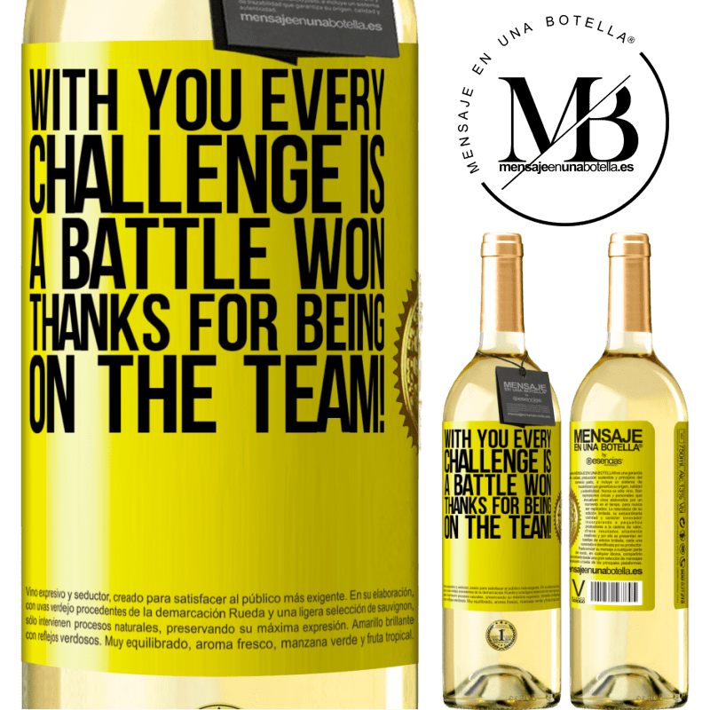 24,95 € Free Shipping | White Wine WHITE Edition With you every challenge is a battle won. Thanks for being on the team! Yellow Label. Customizable label Young wine Harvest 2020 Verdejo