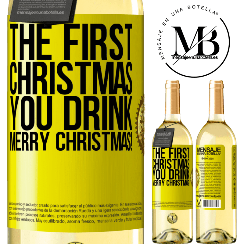 24,95 € Free Shipping | White Wine WHITE Edition The first Christmas you drink. Merry Christmas! Yellow Label. Customizable label Young wine Harvest 2020 Verdejo