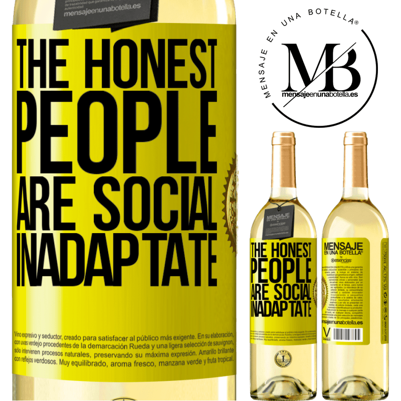 24,95 € Free Shipping   White Wine WHITE Edition The honest people are social inadaptate Yellow Label. Customizable label Young wine Harvest 2020 Verdejo