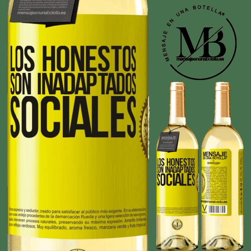 24,95 € Envío gratis | Vino Blanco Edición WHITE Los honestos son inadaptados sociales Etiqueta Amarilla. Etiqueta personalizable Vino joven Cosecha 2020 Verdejo