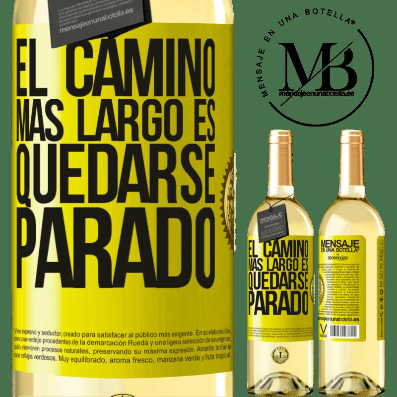 24,95 € Envío gratis | Vino Blanco Edición WHITE El camino más largo es quedarse parado Etiqueta Amarilla. Etiqueta personalizable Vino joven Cosecha 2020 Verdejo