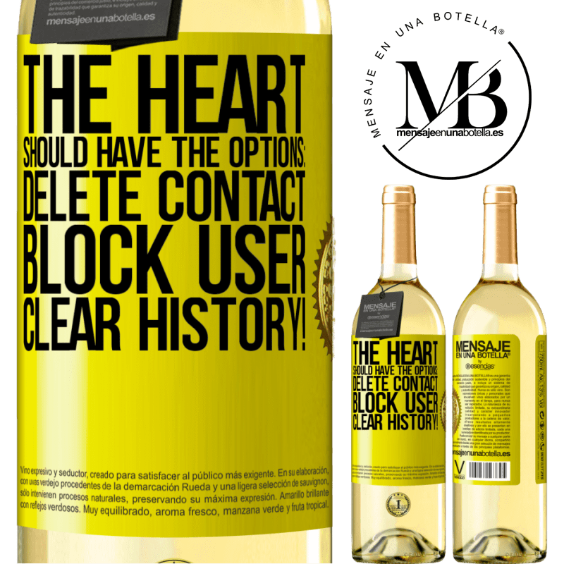 24,95 € Free Shipping   White Wine WHITE Edition The heart should have the options: Delete contact, Block user, Clear history! Yellow Label. Customizable label Young wine Harvest 2020 Verdejo