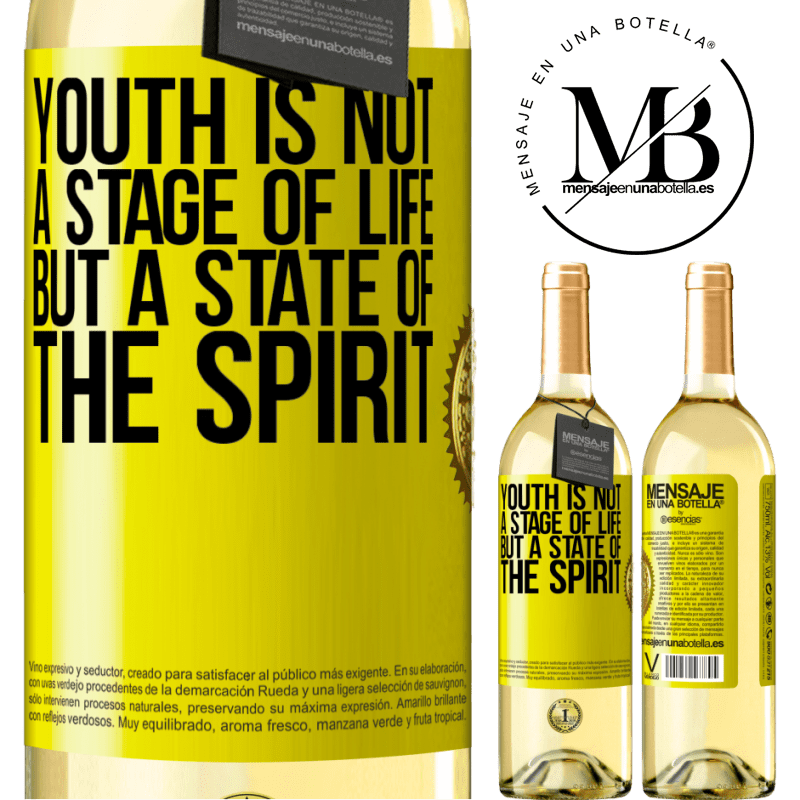 24,95 € Free Shipping   White Wine WHITE Edition Youth is not a stage of life, but a state of the spirit Yellow Label. Customizable label Young wine Harvest 2020 Verdejo