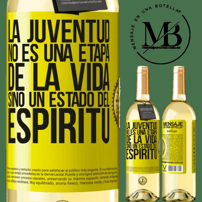 24,95 € Envío gratis | Vino Blanco Edición WHITE La juventud no es una etapa de la vida, sino un estado del espíritu Etiqueta Amarilla. Etiqueta personalizable Vino joven Cosecha 2020 Verdejo