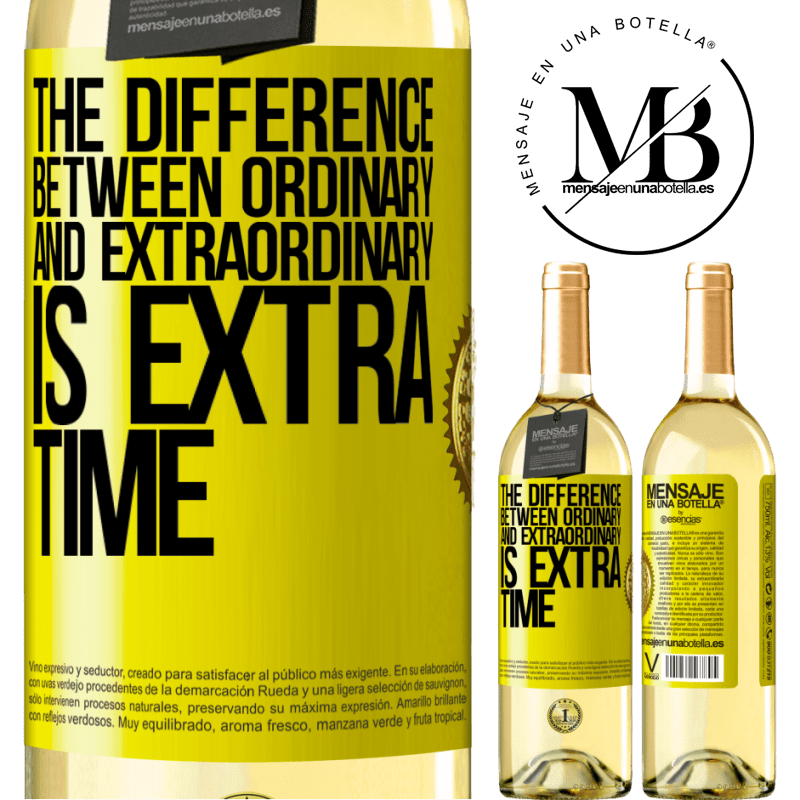 24,95 € Free Shipping | White Wine WHITE Edition The difference between ordinary and extraordinary is EXTRA time Yellow Label. Customizable label Young wine Harvest 2020 Verdejo