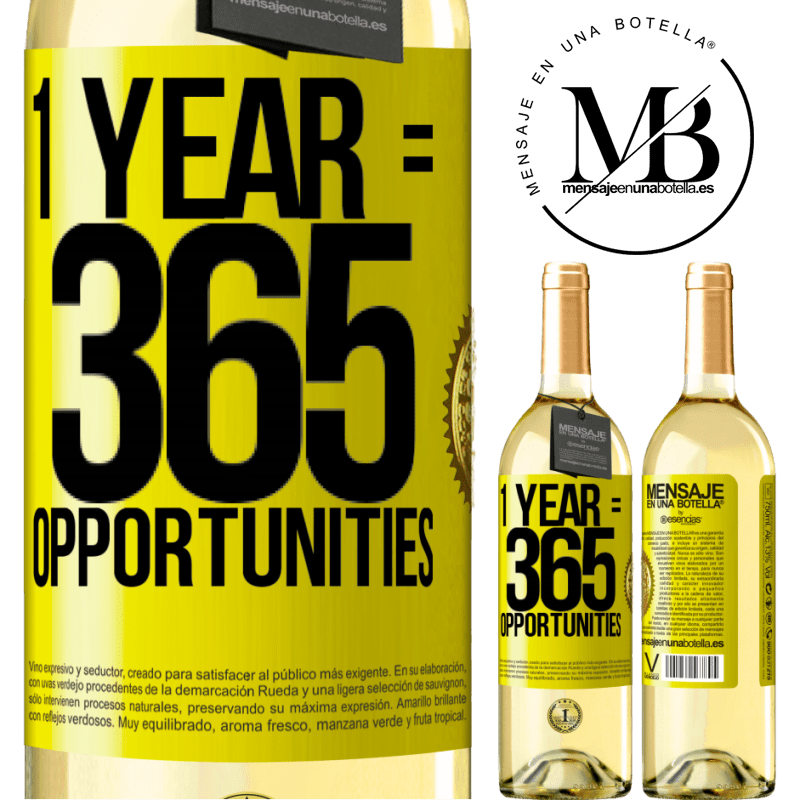 24,95 € Free Shipping | White Wine WHITE Edition 1 year 365 opportunities Yellow Label. Customizable label Young wine Harvest 2020 Verdejo