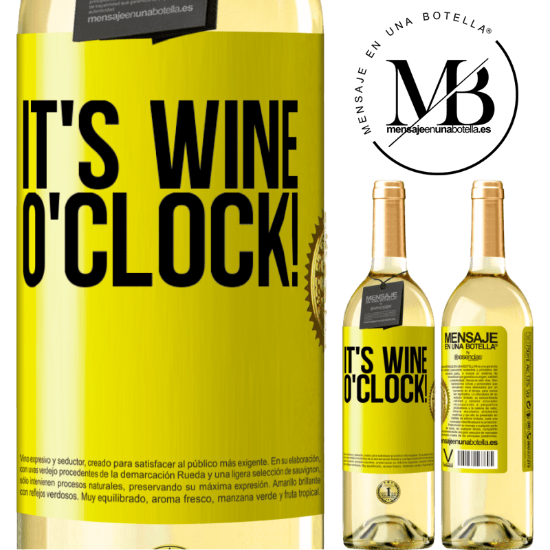 24,95 € Free Shipping | White Wine WHITE Edition It's wine o'clock! Yellow Label. Customizable label Young wine Harvest 2020 Verdejo