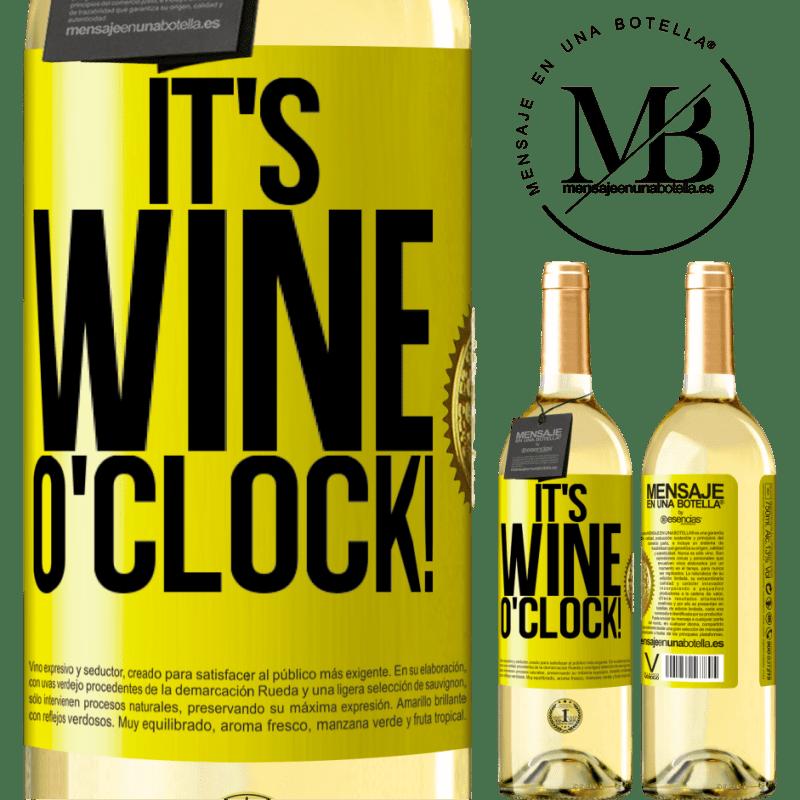 24,95 € Envío gratis | Vino Blanco Edición WHITE It's wine o'clock! Etiqueta Amarilla. Etiqueta personalizable Vino joven Cosecha 2020 Verdejo