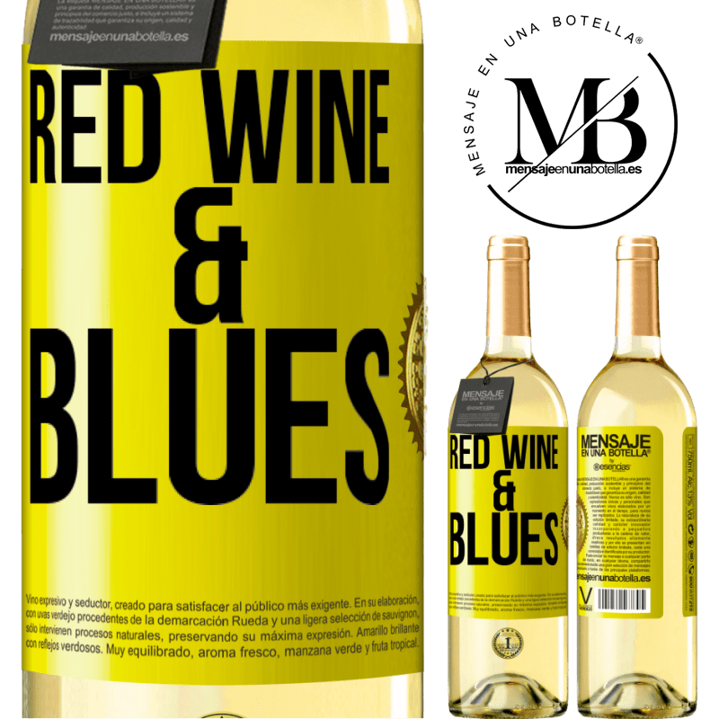 24,95 € Free Shipping | White Wine WHITE Edition Red wine & Blues Yellow Label. Customizable label Young wine Harvest 2020 Verdejo