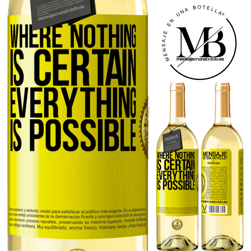 24,95 € Free Shipping | White Wine WHITE Edition Where nothing is certain, everything is possible Yellow Label. Customizable label Young wine Harvest 2020 Verdejo