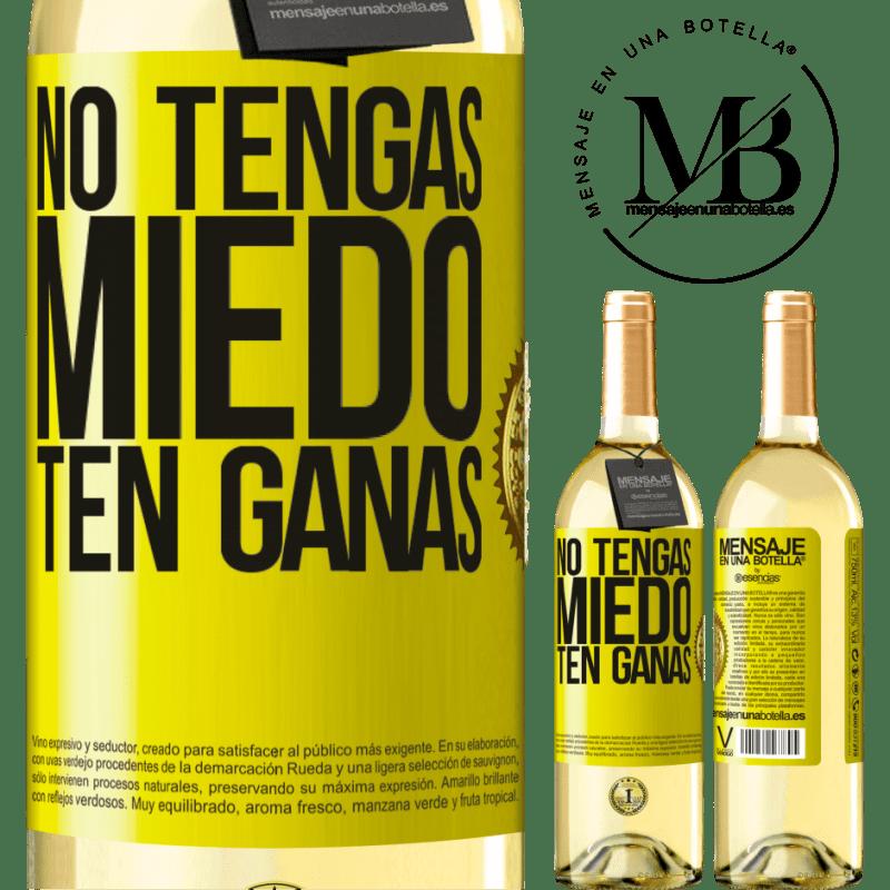 24,95 € Envoi gratuit   Vin blanc Édition WHITE N'ayez pas peur. Envie Étiquette Jaune. Étiquette personnalisable Vin jeune Récolte 2020 Verdejo