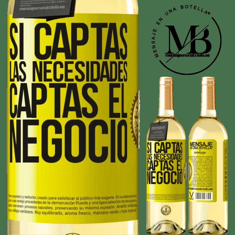 24,95 € Envío gratis | Vino Blanco Edición WHITE Si captas las necesidades, captas el negocio Etiqueta Amarilla. Etiqueta personalizable Vino joven Cosecha 2020 Verdejo
