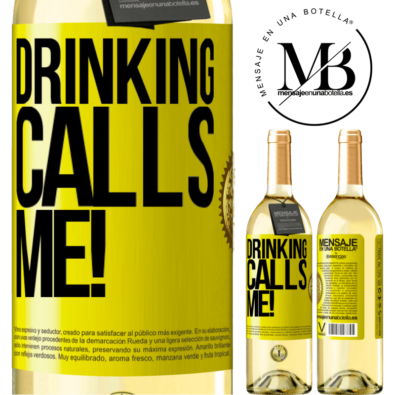 24,95 € Free Shipping | White Wine WHITE Edition drinking calls me! Yellow Label. Customizable label Young wine Harvest 2020 Verdejo