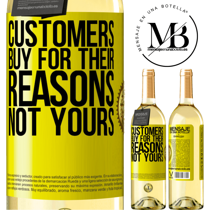 24,95 € Free Shipping | White Wine WHITE Edition Customers buy for their reasons, not yours Yellow Label. Customizable label Young wine Harvest 2020 Verdejo
