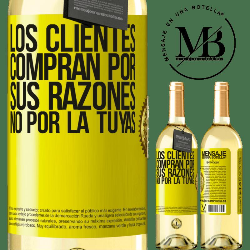 24,95 € Envoi gratuit | Vin blanc Édition WHITE Les clients achètent pour leurs raisons, pas les vôtres Étiquette Jaune. Étiquette personnalisable Vin jeune Récolte 2020 Verdejo