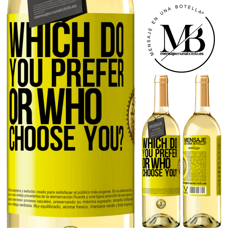24,95 € Free Shipping | White Wine WHITE Edition which do you prefer, or who choose you? Yellow Label. Customizable label Young wine Harvest 2020 Verdejo