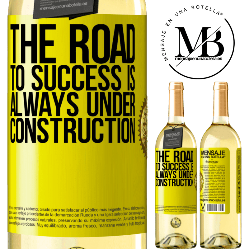 24,95 € Free Shipping | White Wine WHITE Edition The road to success is always under construction Yellow Label. Customizable label Young wine Harvest 2020 Verdejo