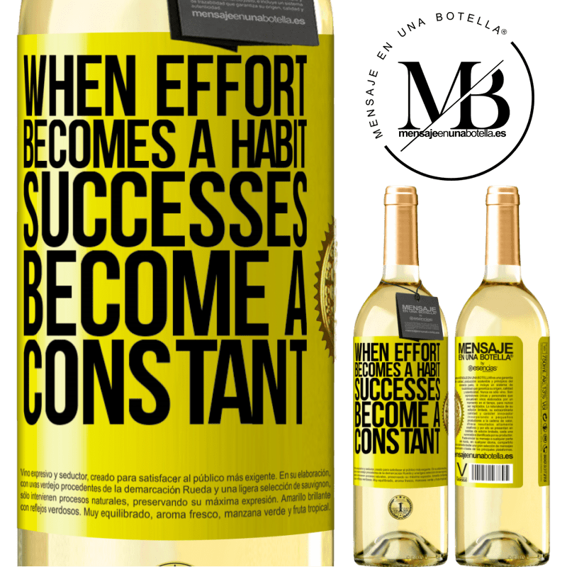 24,95 € Free Shipping | White Wine WHITE Edition When effort becomes a habit, successes become a constant Yellow Label. Customizable label Young wine Harvest 2020 Verdejo