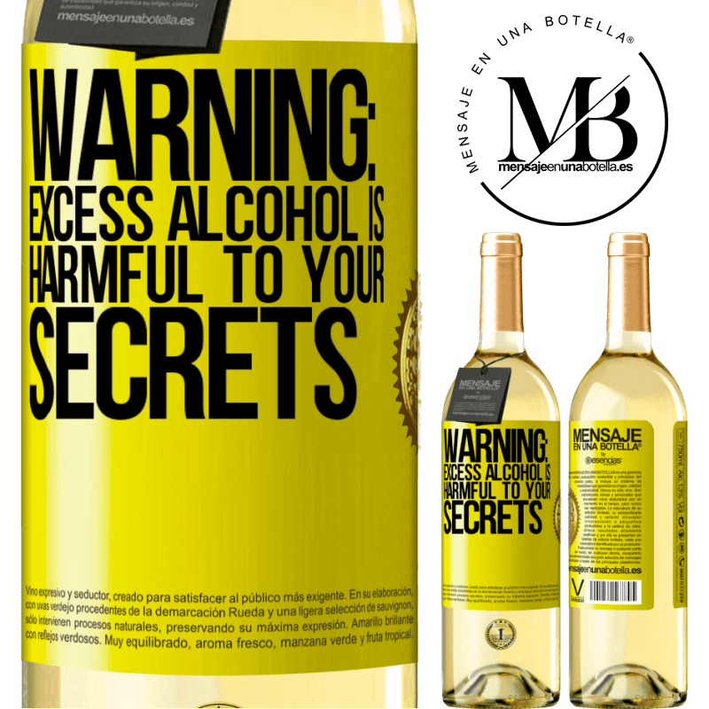 24,95 € Free Shipping | White Wine WHITE Edition Warning: Excess alcohol is harmful to your secrets Yellow Label. Customizable label Young wine Harvest 2020 Verdejo
