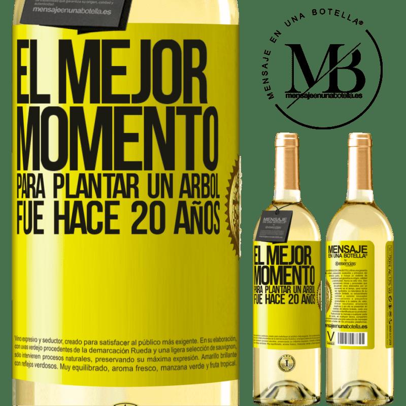 24,95 € Envío gratis | Vino Blanco Edición WHITE El mejor momento para plantar un árbol , fue hace 20 años Etiqueta Amarilla. Etiqueta personalizable Vino joven Cosecha 2020 Verdejo