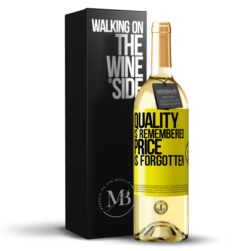 24,95 € Free Shipping   White Wine WHITE Edition Quality is remembered, price is forgotten Yellow Label. Customizable label Young wine Harvest 2020 Verdejo