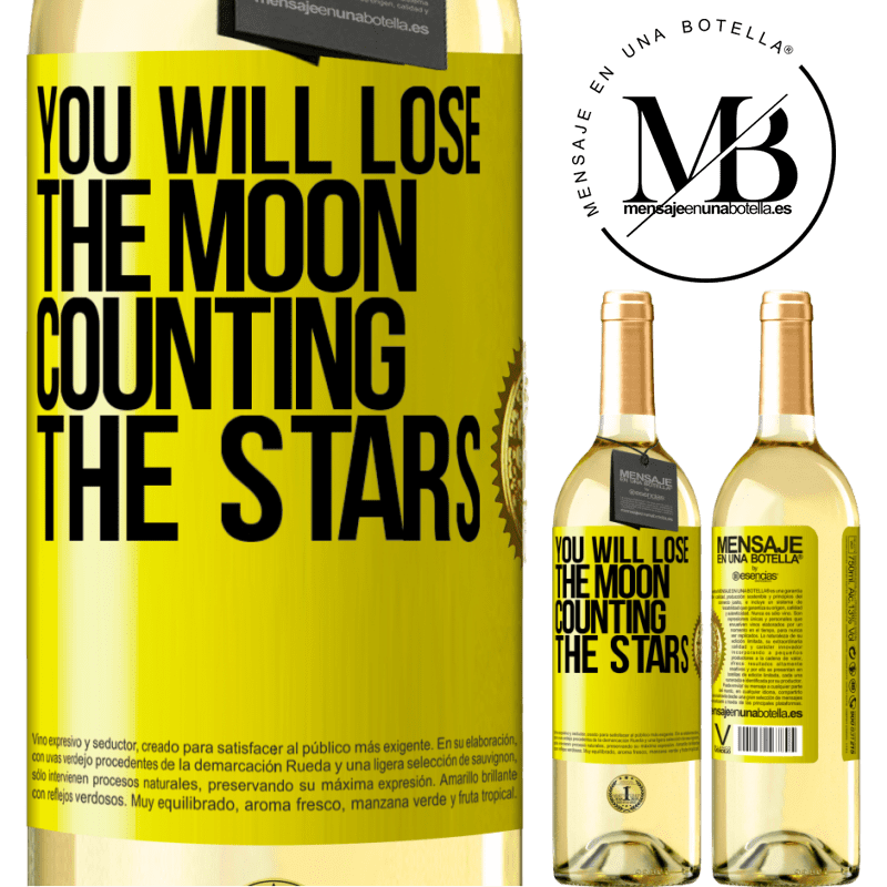 24,95 € Free Shipping | White Wine WHITE Edition You will lose the moon counting the stars Yellow Label. Customizable label Young wine Harvest 2020 Verdejo
