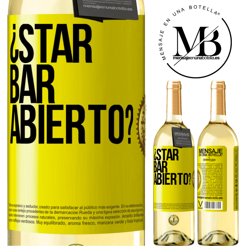 24,95 € Free Shipping | White Wine WHITE Edition ¿STAR BAR abierto? Yellow Label. Customizable label Young wine Harvest 2020 Verdejo