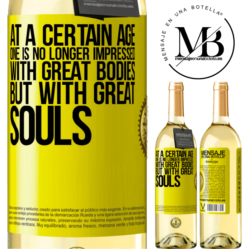 24,95 € Free Shipping   White Wine WHITE Edition At a certain age one is no longer impressed with great bodies, but with great souls Yellow Label. Customizable label Young wine Harvest 2020 Verdejo