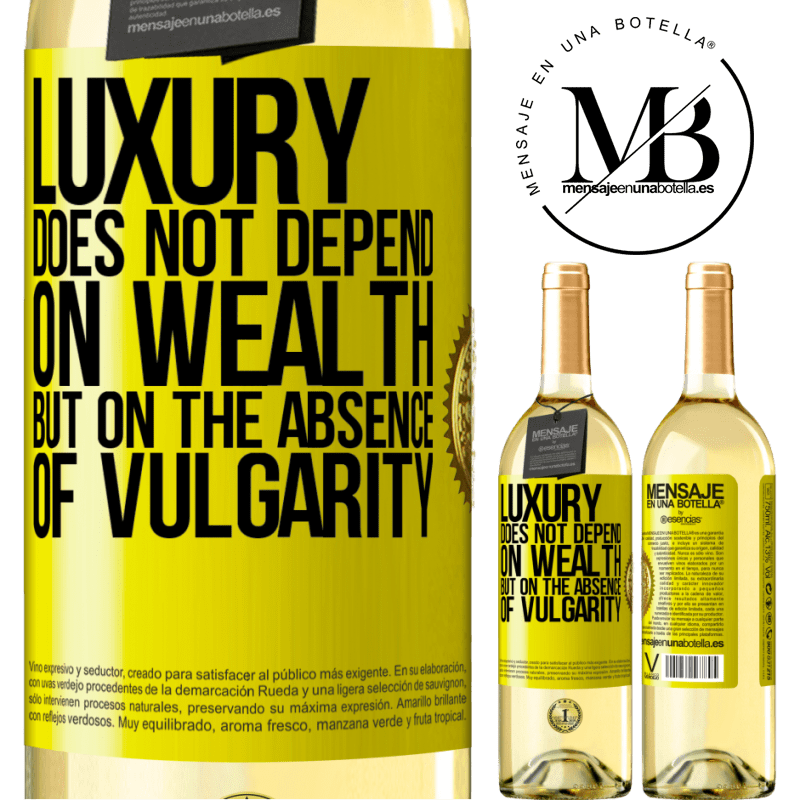 24,95 € Free Shipping | White Wine WHITE Edition Luxury does not depend on wealth, but on the absence of vulgarity Yellow Label. Customizable label Young wine Harvest 2020 Verdejo