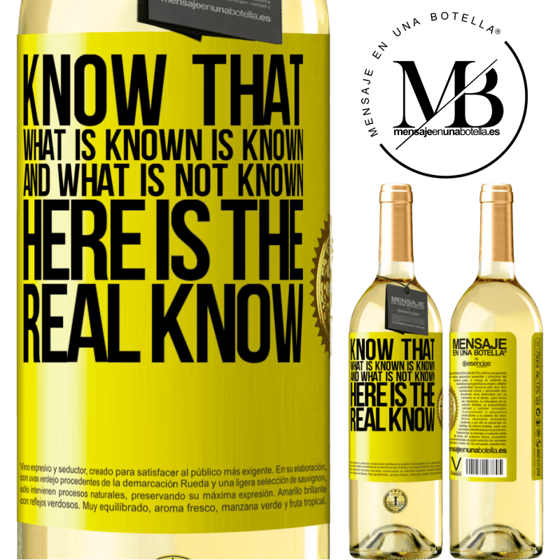 24,95 € Free Shipping | White Wine WHITE Edition Know that what is known is known and what is not known here is the real know Yellow Label. Customizable label Young wine Harvest 2020 Verdejo