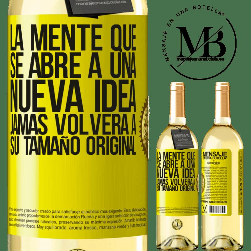 24,95 € Envío gratis | Vino Blanco Edición WHITE La mente que se abre a una nueva idea jamás volverá a su tamaño original Etiqueta Amarilla. Etiqueta personalizable Vino joven Cosecha 2020 Verdejo