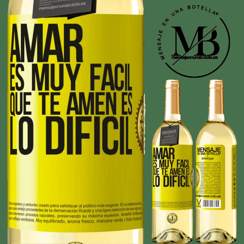 24,95 € Envío gratis | Vino Blanco Edición WHITE Amar es muy fácil, que te amen es lo difícil Etiqueta Amarilla. Etiqueta personalizable Vino joven Cosecha 2020 Verdejo