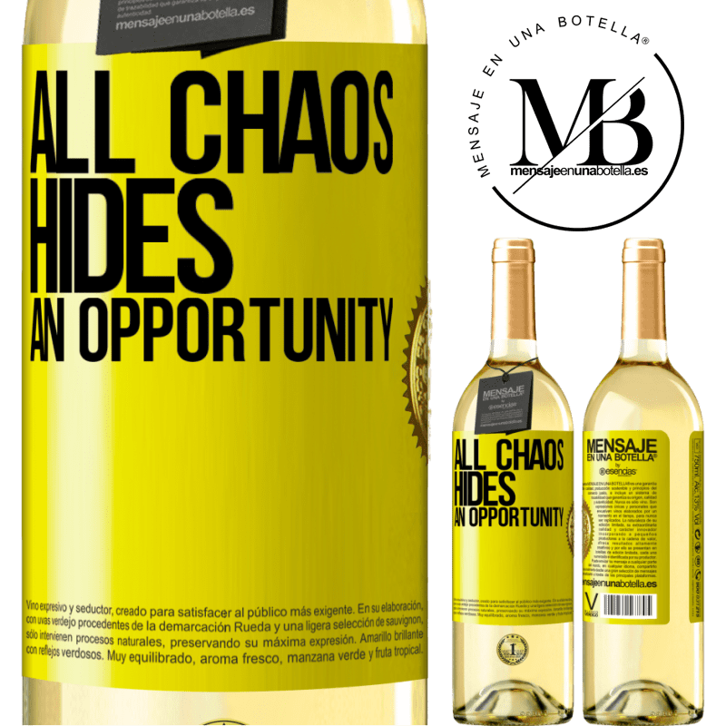 24,95 € Free Shipping   White Wine WHITE Edition All chaos hides an opportunity Yellow Label. Customizable label Young wine Harvest 2020 Verdejo