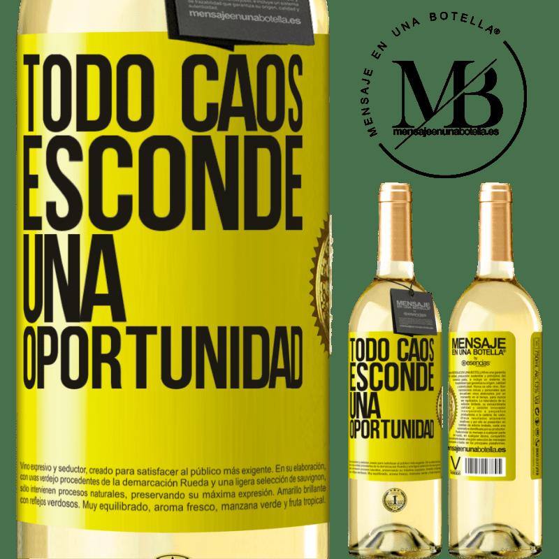 24,95 € Envío gratis | Vino Blanco Edición WHITE Todo caos esconde una oportunidad Etiqueta Amarilla. Etiqueta personalizable Vino joven Cosecha 2020 Verdejo