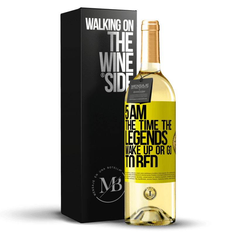 24,95 € Free Shipping | White Wine WHITE Edition 5 AM. The time the legends wake up or go to bed Yellow Label. Customizable label Young wine Harvest 2020 Verdejo