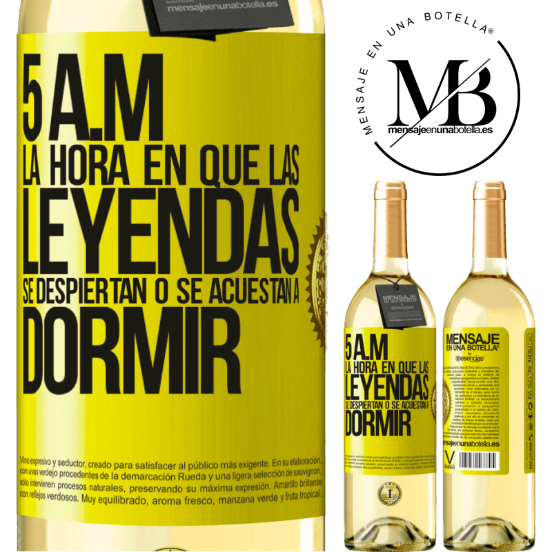24,95 € Envoi gratuit | Vin blanc Édition WHITE 5 heures du matin Le moment où les légendes se réveillent ou se couchent Étiquette Jaune. Étiquette personnalisable Vin jeune Récolte 2020 Verdejo