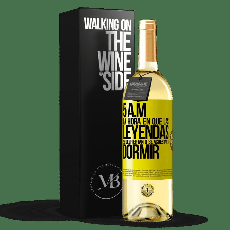 24,95 € Envoi gratuit   Vin blanc Édition WHITE 5 heures du matin Le moment où les légendes se réveillent ou se couchent Étiquette Jaune. Étiquette personnalisable Vin jeune Récolte 2020 Verdejo
