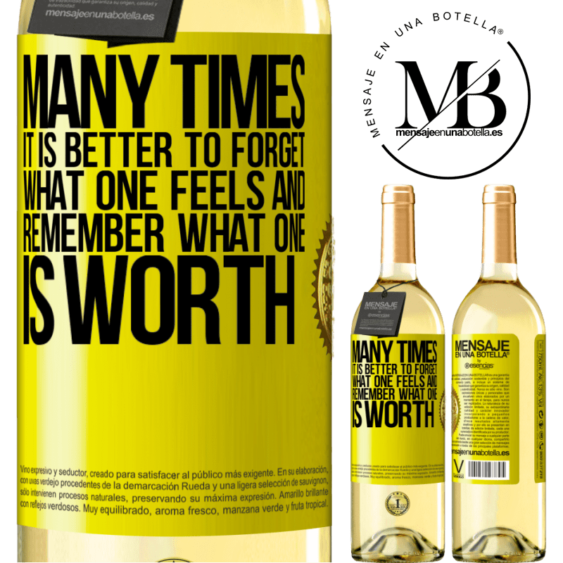 24,95 € Free Shipping | White Wine WHITE Edition Many times it is better to forget what one feels and remember what one is worth Yellow Label. Customizable label Young wine Harvest 2020 Verdejo