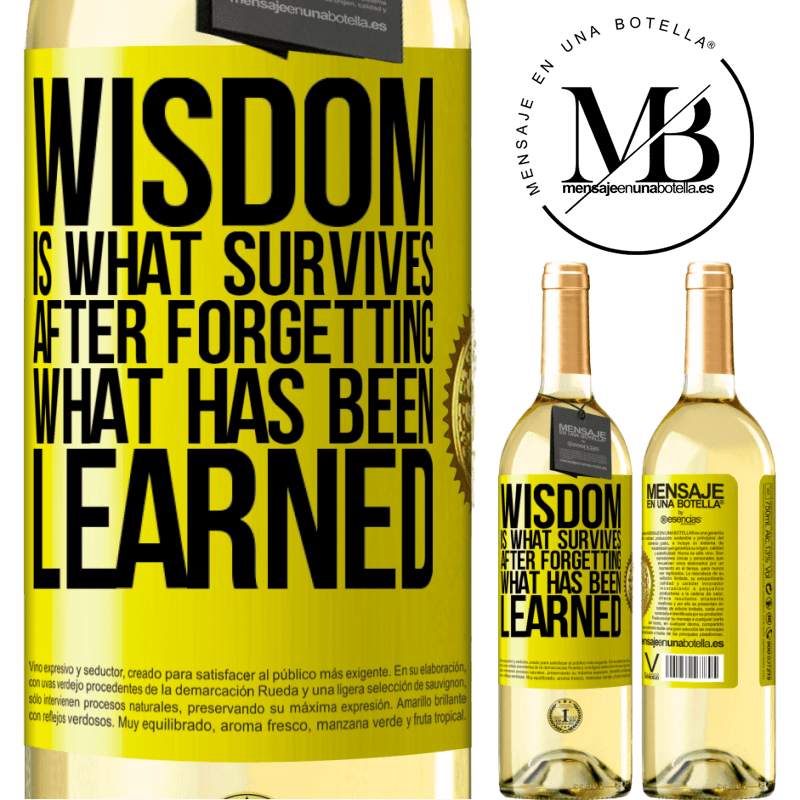 24,95 € Free Shipping | White Wine WHITE Edition Wisdom is what survives after forgetting what has been learned Yellow Label. Customizable label Young wine Harvest 2020 Verdejo