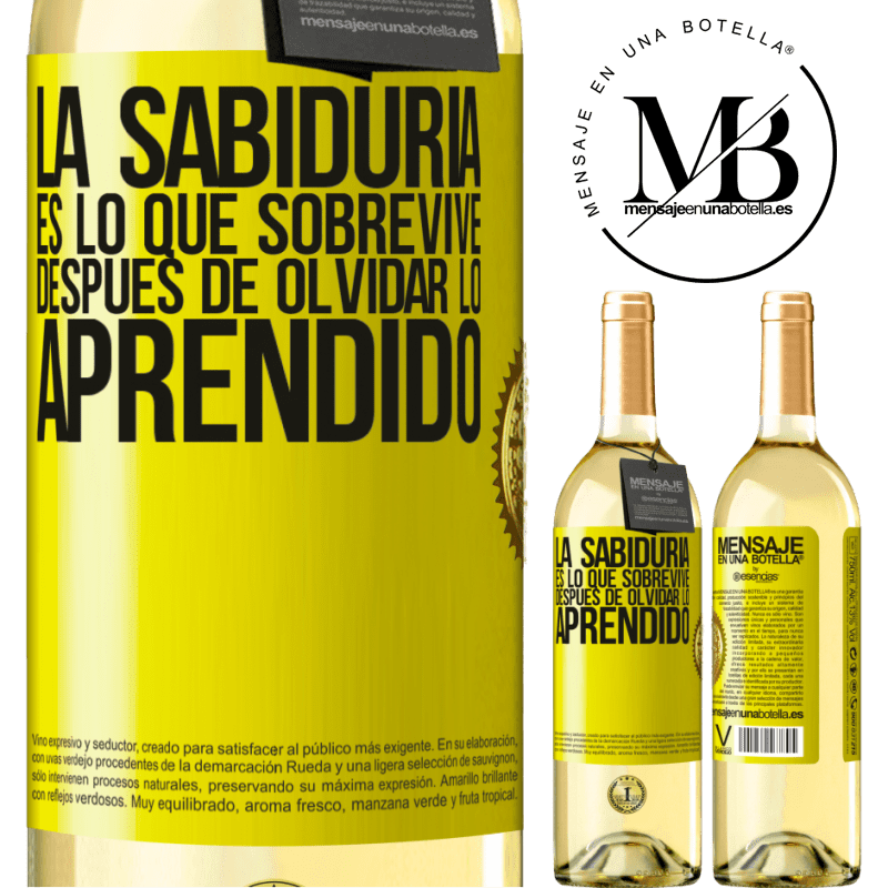 24,95 € Envío gratis | Vino Blanco Edición WHITE La sabiduría es lo que sobrevive después de olvidar lo aprendido Etiqueta Amarilla. Etiqueta personalizable Vino joven Cosecha 2020 Verdejo