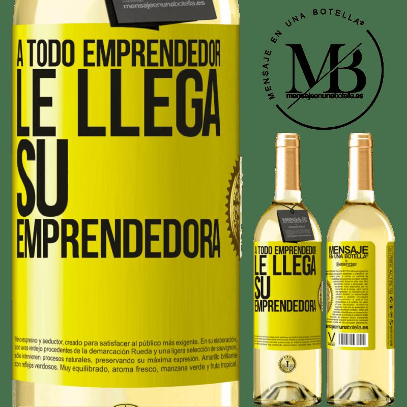24,95 € Envío gratis | Vino Blanco Edición WHITE A todo emprendedor le llega su emprendedora Etiqueta Amarilla. Etiqueta personalizable Vino joven Cosecha 2020 Verdejo