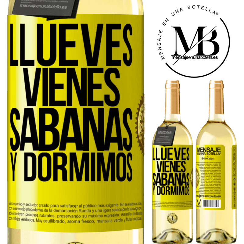 24,95 € Free Shipping | White Wine WHITE Edition Llueves, vienes, sábanas y dormimos Yellow Label. Customizable label Young wine Harvest 2020 Verdejo
