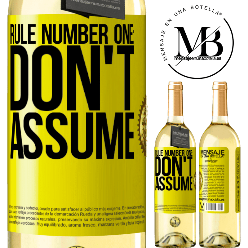 24,95 € Free Shipping | White Wine WHITE Edition Rule number one: don't assume Yellow Label. Customizable label Young wine Harvest 2020 Verdejo