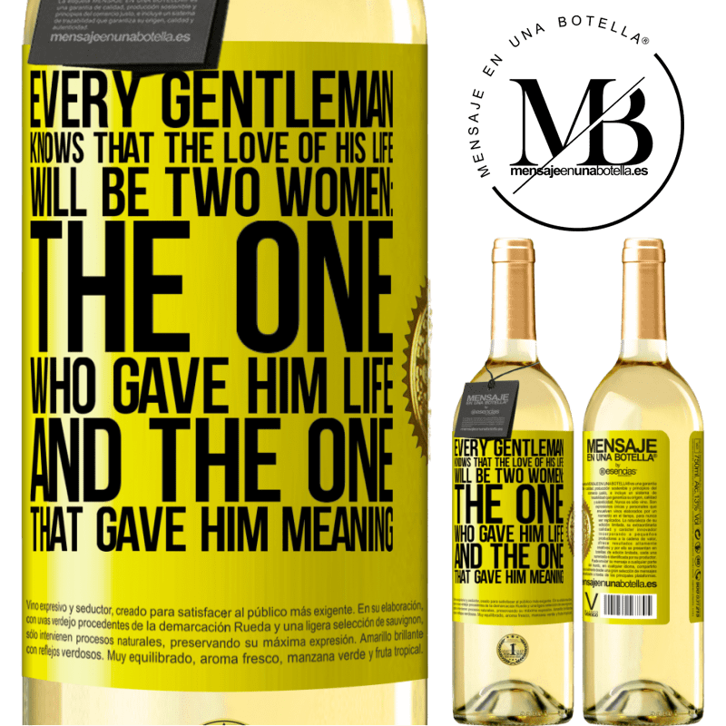 24,95 € Free Shipping | White Wine WHITE Edition Every gentleman knows that the love of his life will be two women: the one who gave him life and the one that gave him Yellow Label. Customizable label Young wine Harvest 2020 Verdejo